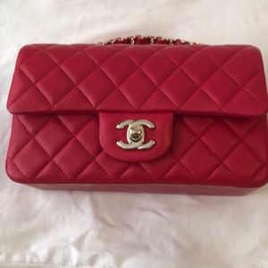 Chanel Classic Flap Lambskin Mini Red